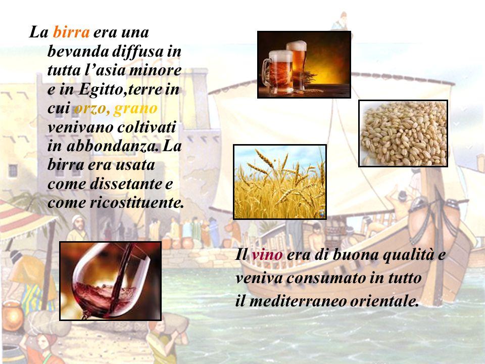 La birra era una bevanda diffusa in tutta l'asia minore e in Egitto,terre in cui orzo, grano venivano coltivati in abbondanza. La birra era usata come dissetante e come ricostituente.