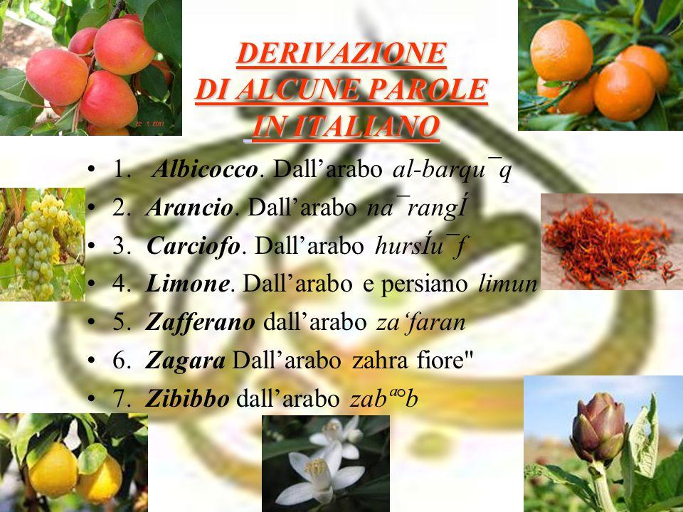 DERIVAZIONE DI ALCUNE PAROLE IN ITALIANO