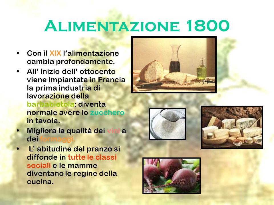 Alimentazione 1800 Con il XIX l'alimentazione cambia profondamente.