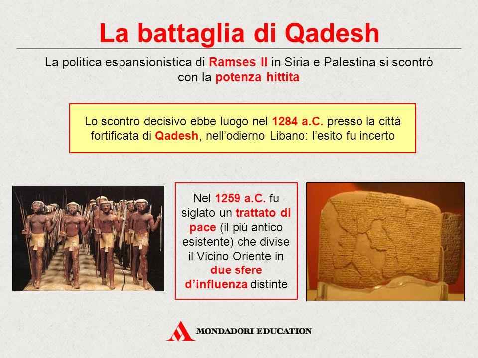 La battaglia di Qadesh La politica espansionistica di Ramses II in Siria e Palestina si scontrò con la potenza hittita.