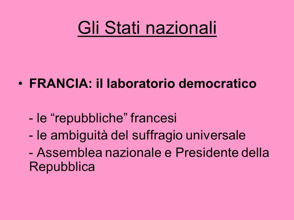 Gli Stati nazionali FRANCIA: il laboratorio democratico