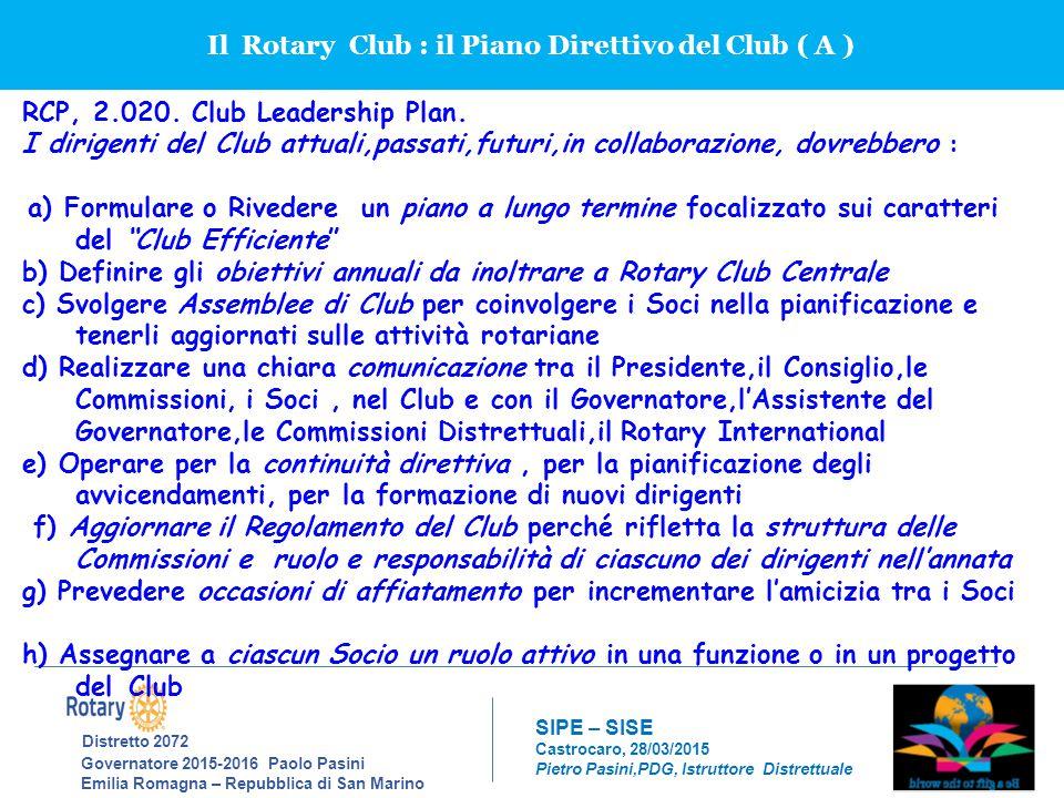 Il Rotary Club : il Piano Direttivo del Club ( A )