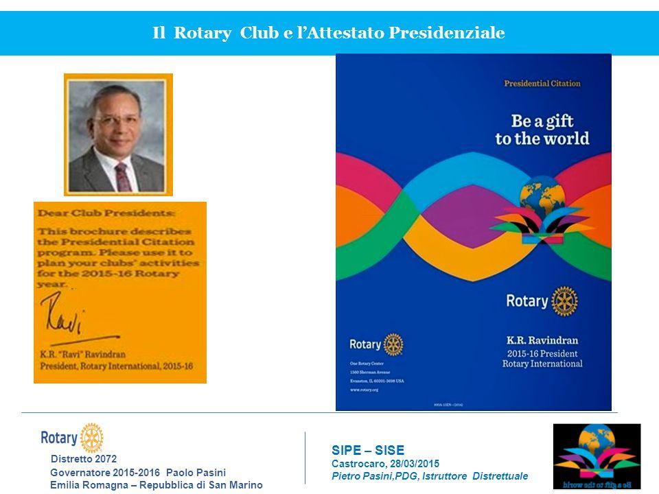 Il Rotary Club e l'Attestato Presidenziale