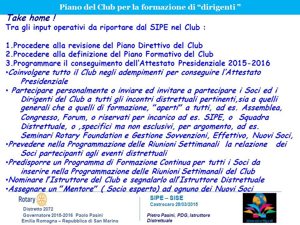 Piano del Club per la formazione di dirigenti
