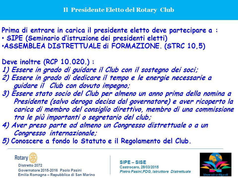 Il Presidente Eletto del Rotary Club