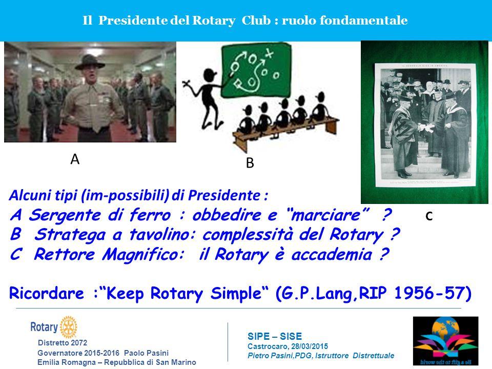 Il Presidente del Rotary Club : ruolo fondamentale