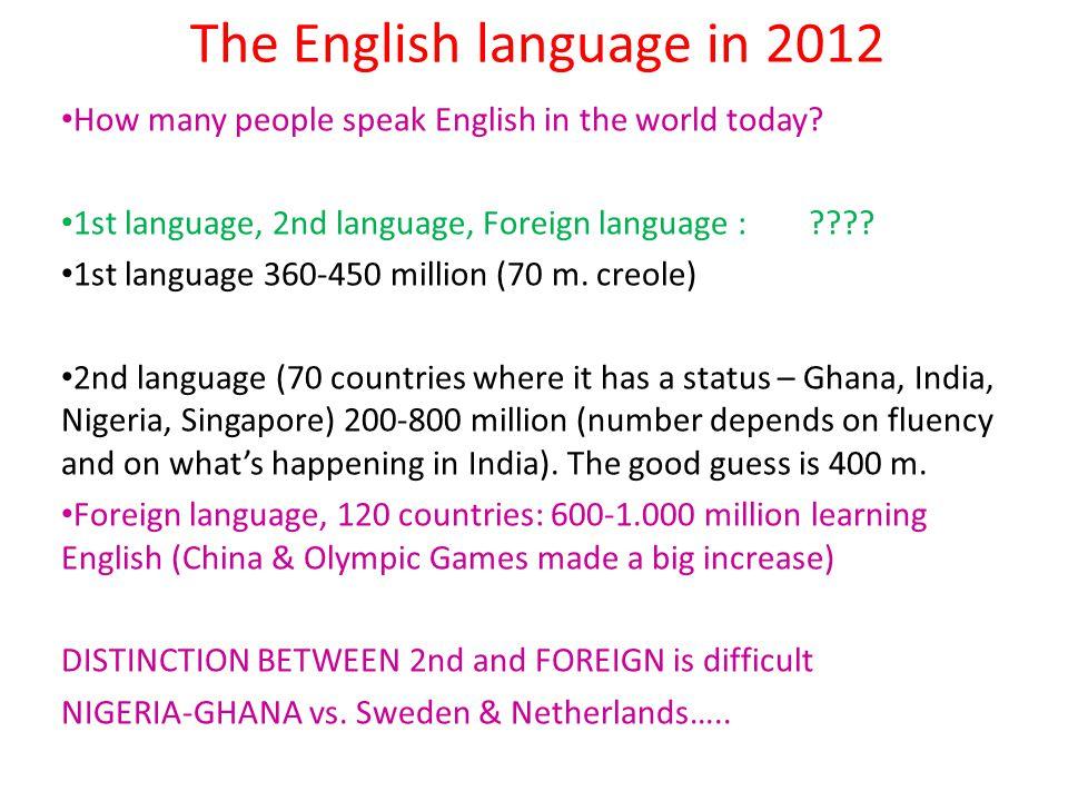 The English language in 2012