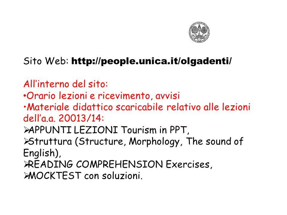 Sito Web: http://people.unica.it/olgadenti/ All'interno del sito: