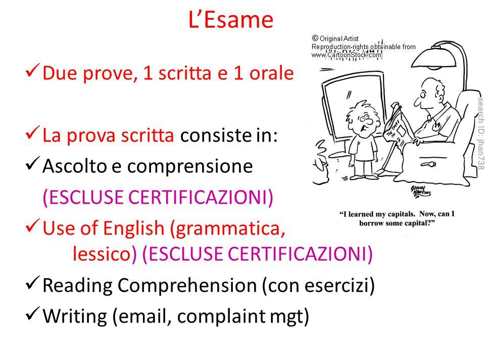 L'Esame Due prove, 1 scritta e 1 orale La prova scritta consiste in: