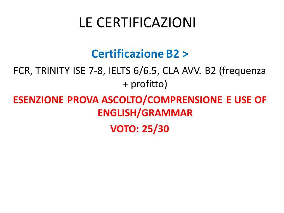 ESENZIONE PROVA ASCOLTO/COMPRENSIONE E USE OF ENGLISH/GRAMMAR