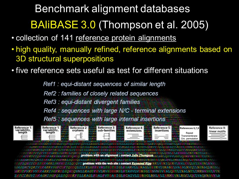 Benchmark alignment databases