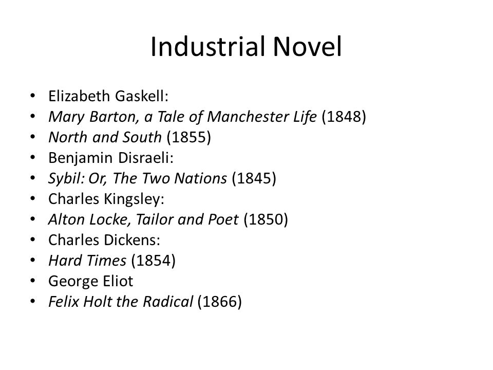 Industrial Novel Elizabeth Gaskell: