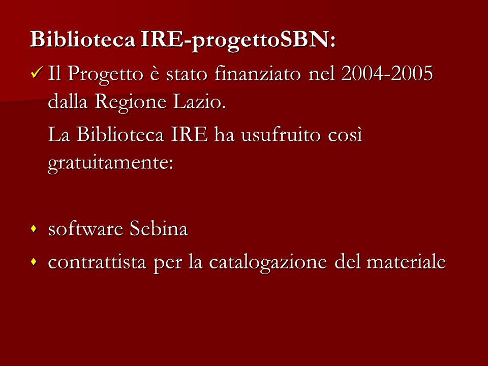 Biblioteca IRE-progettoSBN: