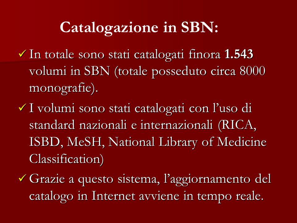 Catalogazione in SBN: In totale sono stati catalogati finora 1.543 volumi in SBN (totale posseduto circa 8000 monografie).