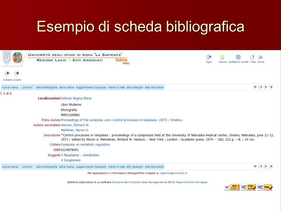 Esempio di scheda bibliografica