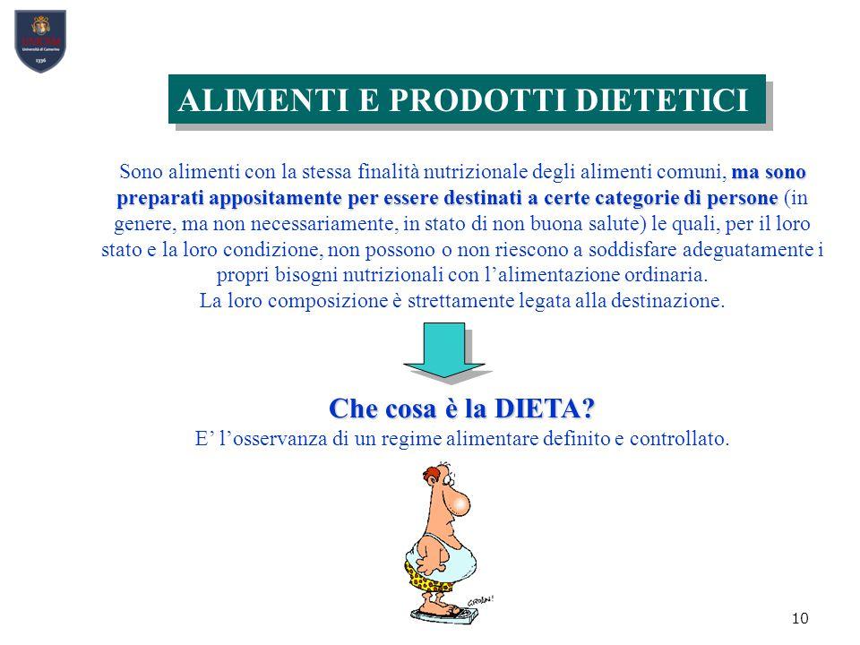 ALIMENTI E PRODOTTI DIETETICI