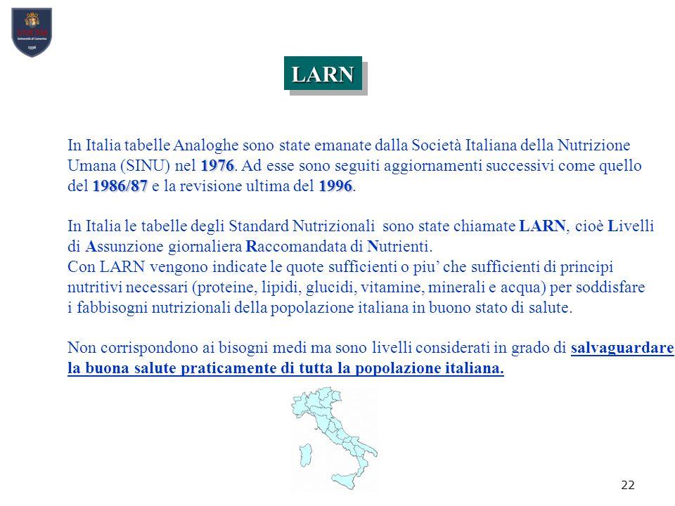 LARN In Italia tabelle Analoghe sono state emanate dalla Società Italiana della Nutrizione.