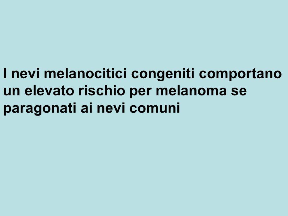 I nevi melanocitici congeniti comportano un elevato rischio per melanoma se paragonati ai nevi comuni