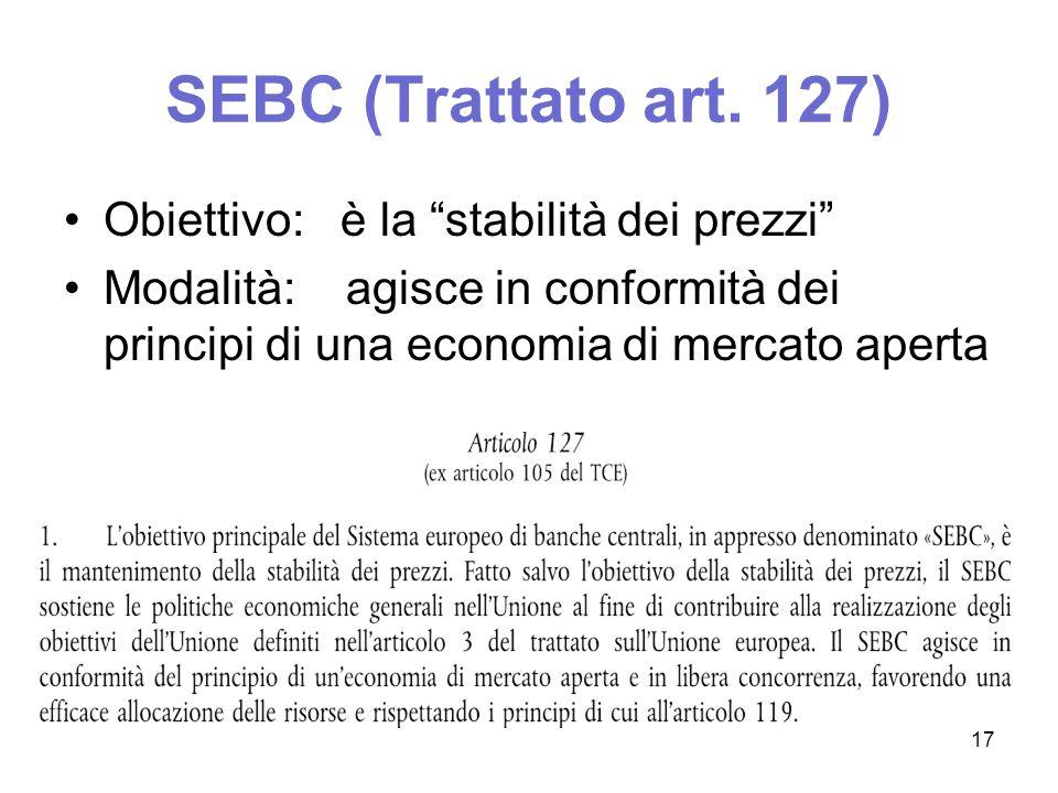 SEBC (Trattato art. 127) Obiettivo: è la stabilità dei prezzi