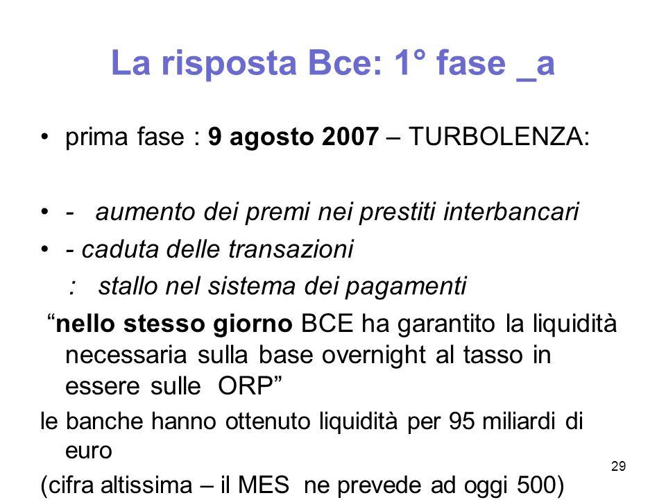 La risposta Bce: 1° fase _a