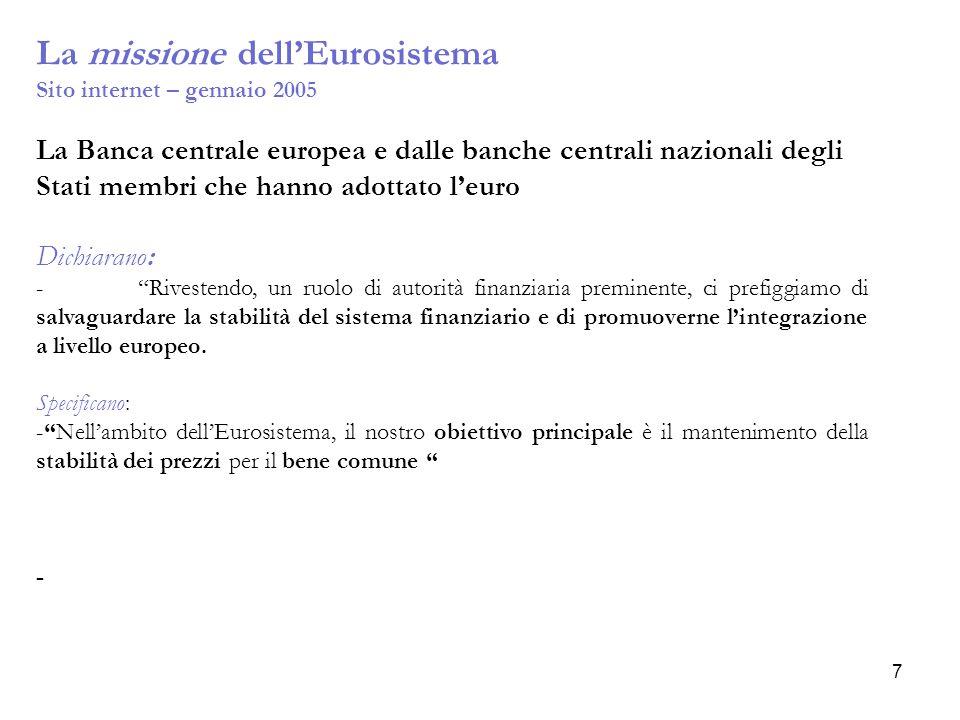 La missione dell'Eurosistema
