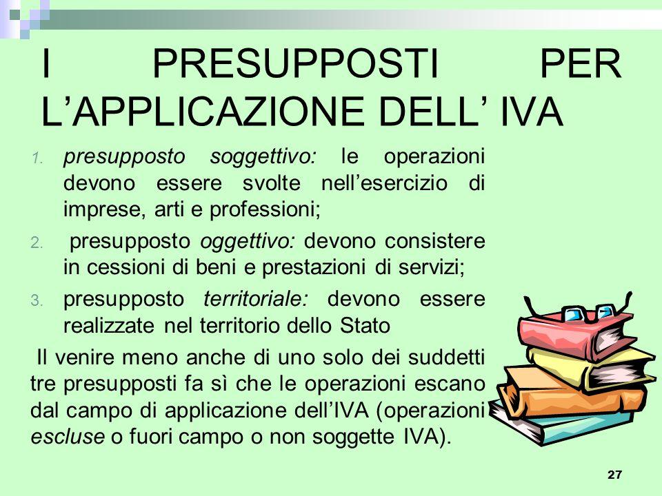 I PRESUPPOSTI PER L'APPLICAZIONE DELL' IVA