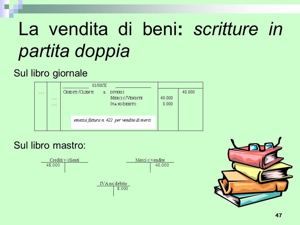 La vendita di beni: scritture in partita doppia
