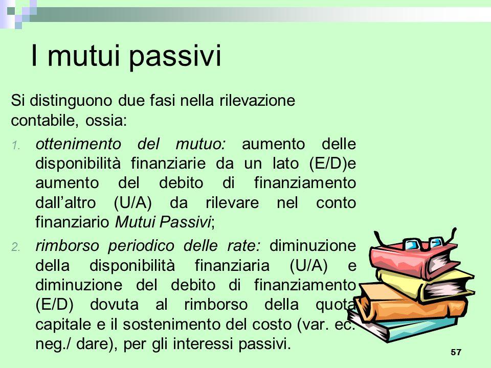 I mutui passivi Si distinguono due fasi nella rilevazione contabile, ossia: