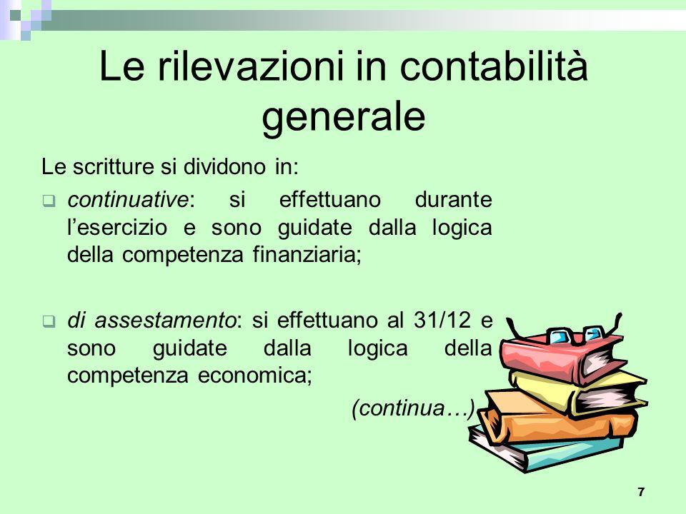 Le rilevazioni in contabilità generale