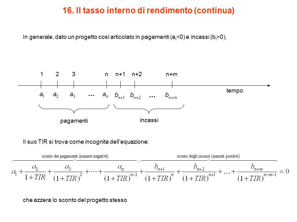 16. Il tasso interno di rendimento (continua)