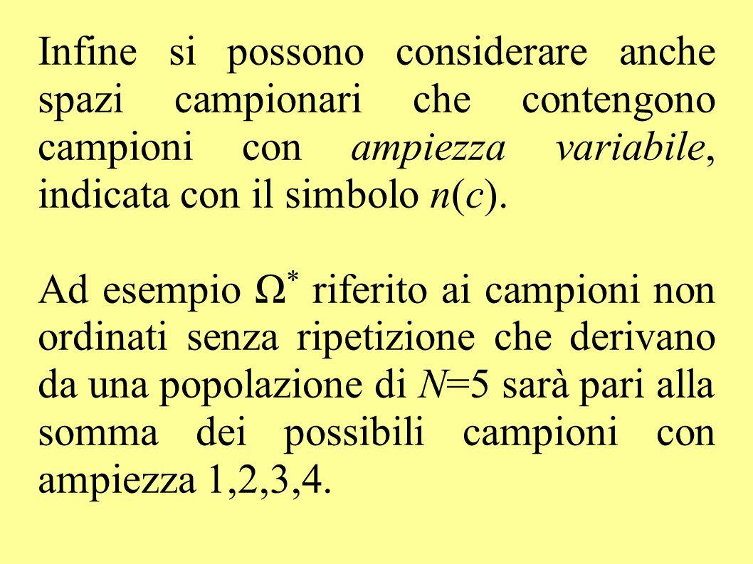 Infine si possono considerare anche spazi campionari che contengono campioni con ampiezza variabile, indicata con il simbolo n(c).