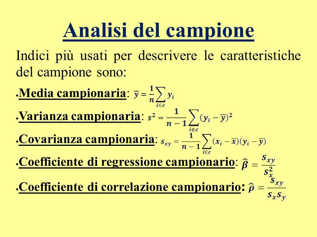 Analisi del campione Indici più usati per descrivere le caratteristiche del campione sono: Media campionaria: