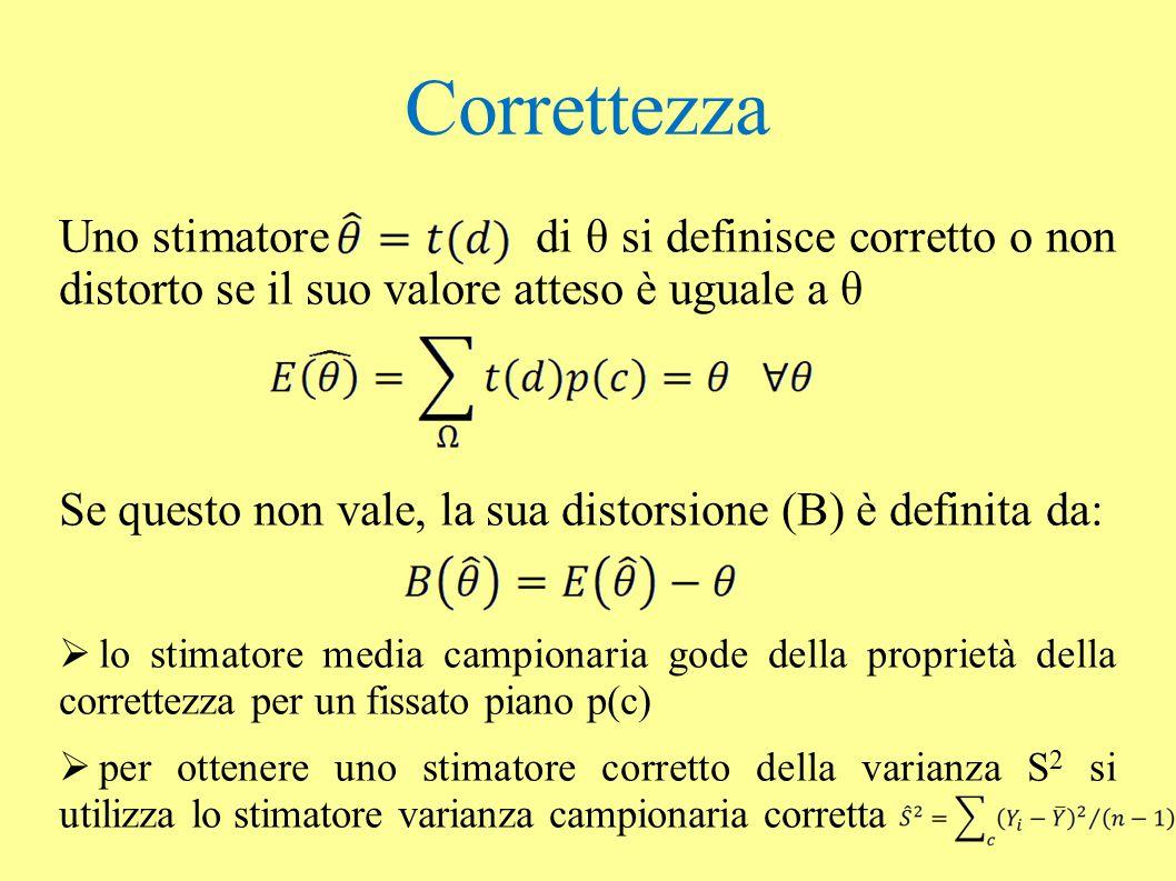 Correttezza Uno stimatore di θ si definisce corretto o non distorto se il suo valore atteso è uguale a θ.