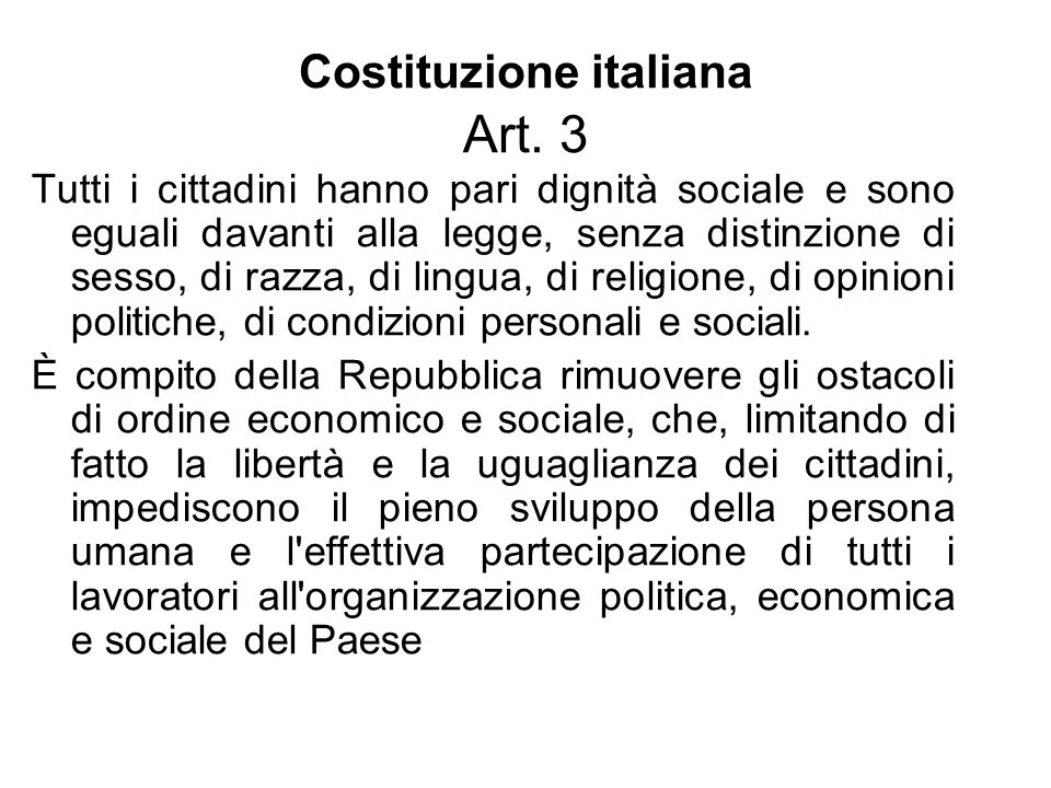 Costituzione italiana Art. 3