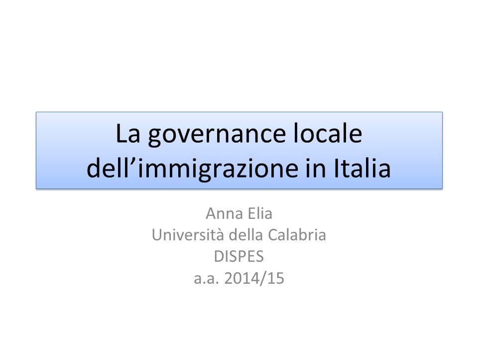 La governance locale dell'immigrazione in Italia