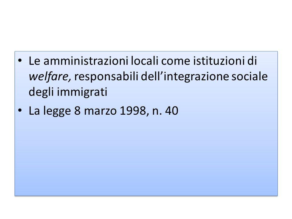 Le amministrazioni locali come istituzioni di welfare, responsabili dell'integrazione sociale degli immigrati
