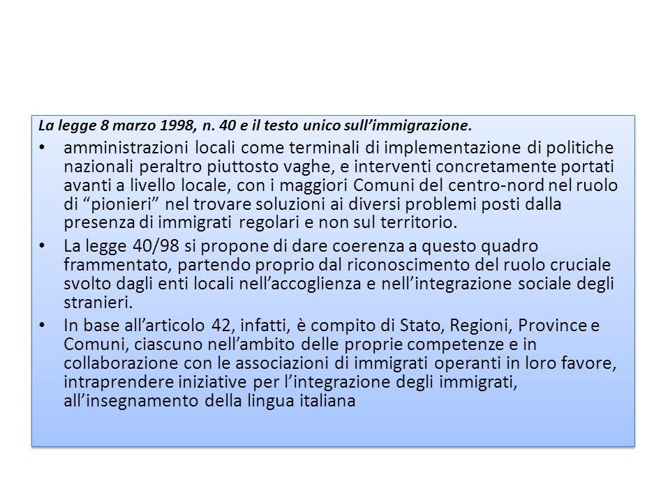 La legge 8 marzo 1998, n. 40 e il testo unico sull'immigrazione.