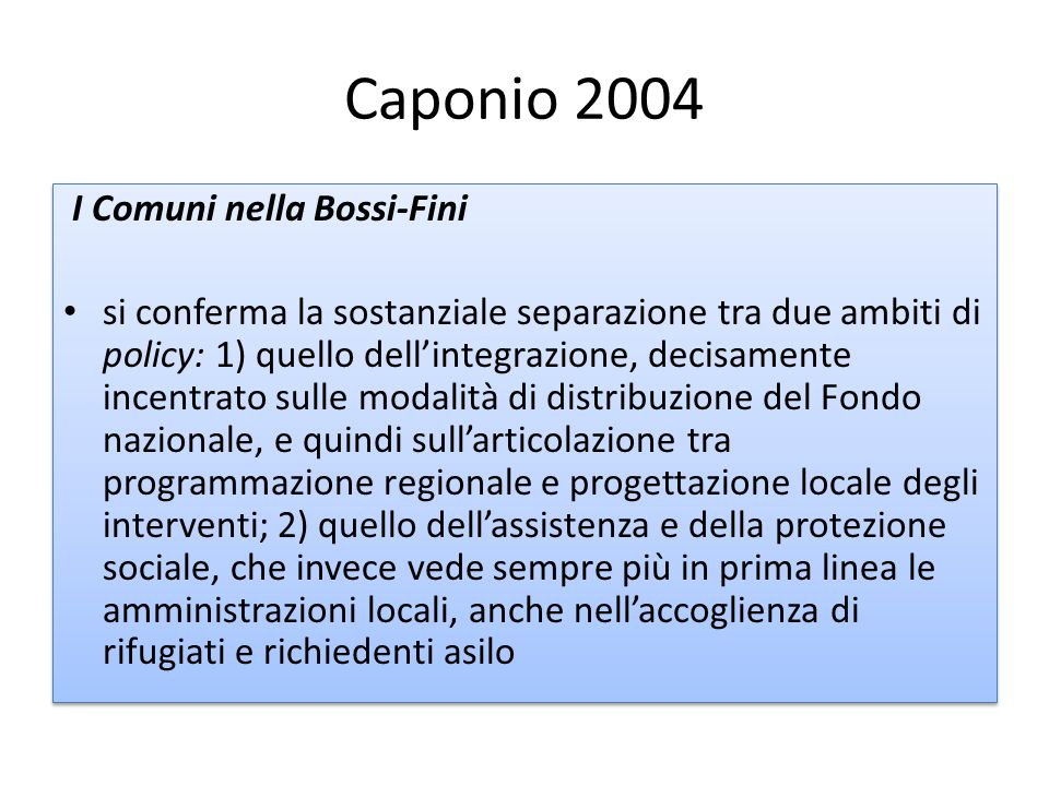Caponio 2004 I Comuni nella Bossi-Fini