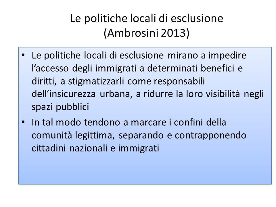 Le politiche locali di esclusione (Ambrosini 2013)