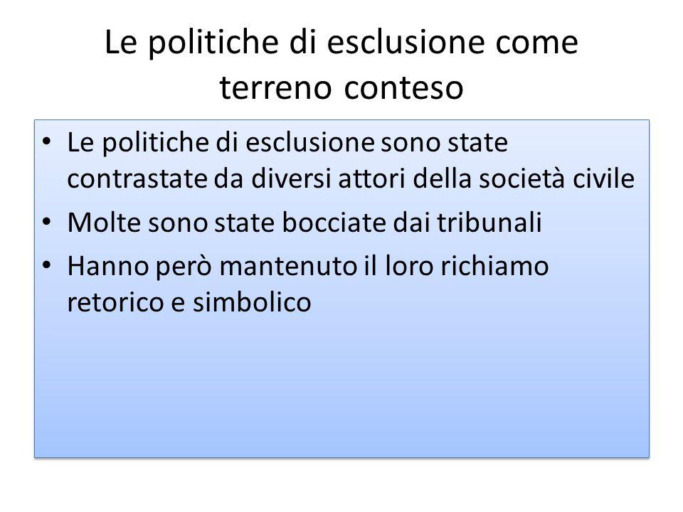 Le politiche di esclusione come terreno conteso