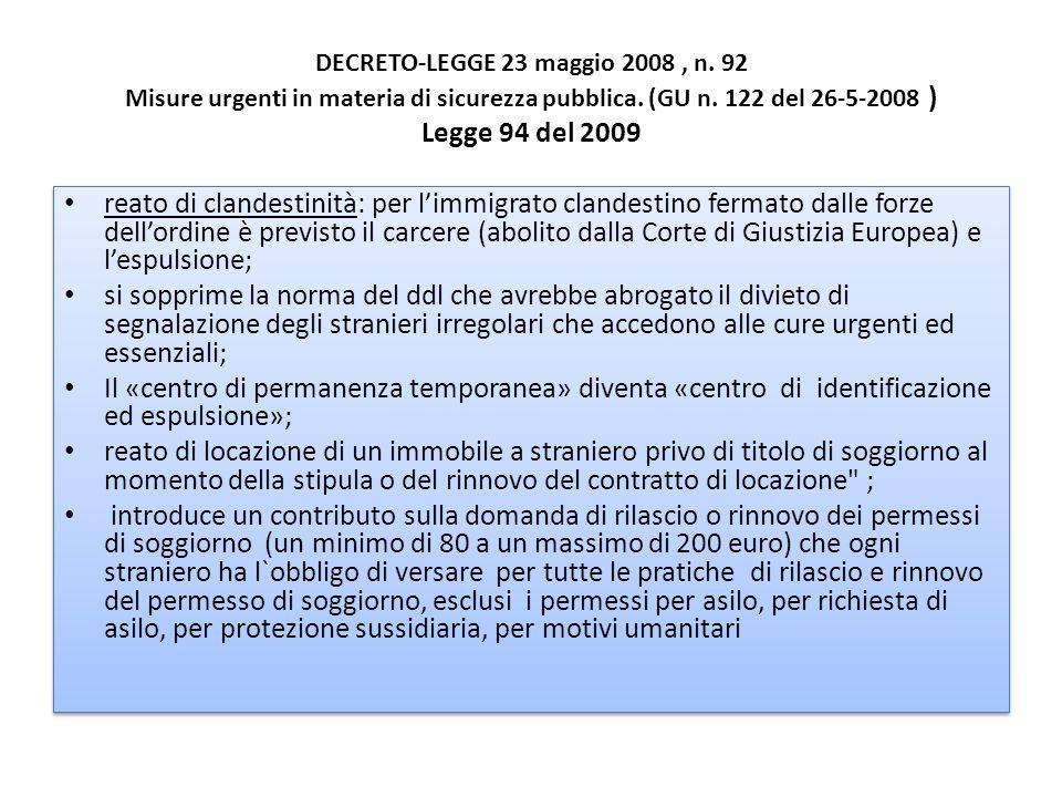 DECRETO-LEGGE 23 maggio 2008 , n