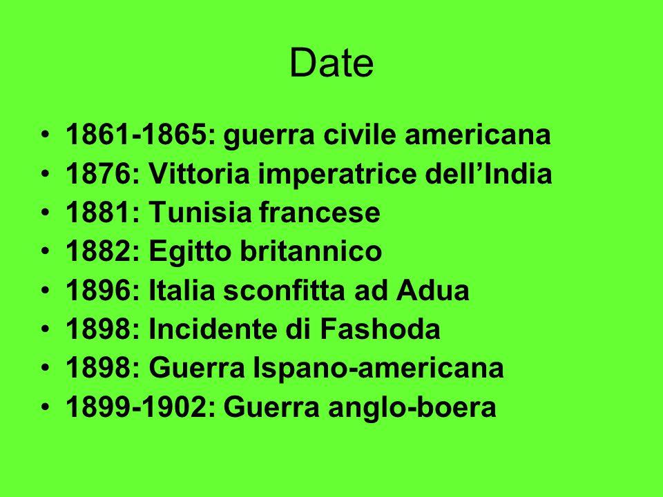 Date 1861-1865: guerra civile americana