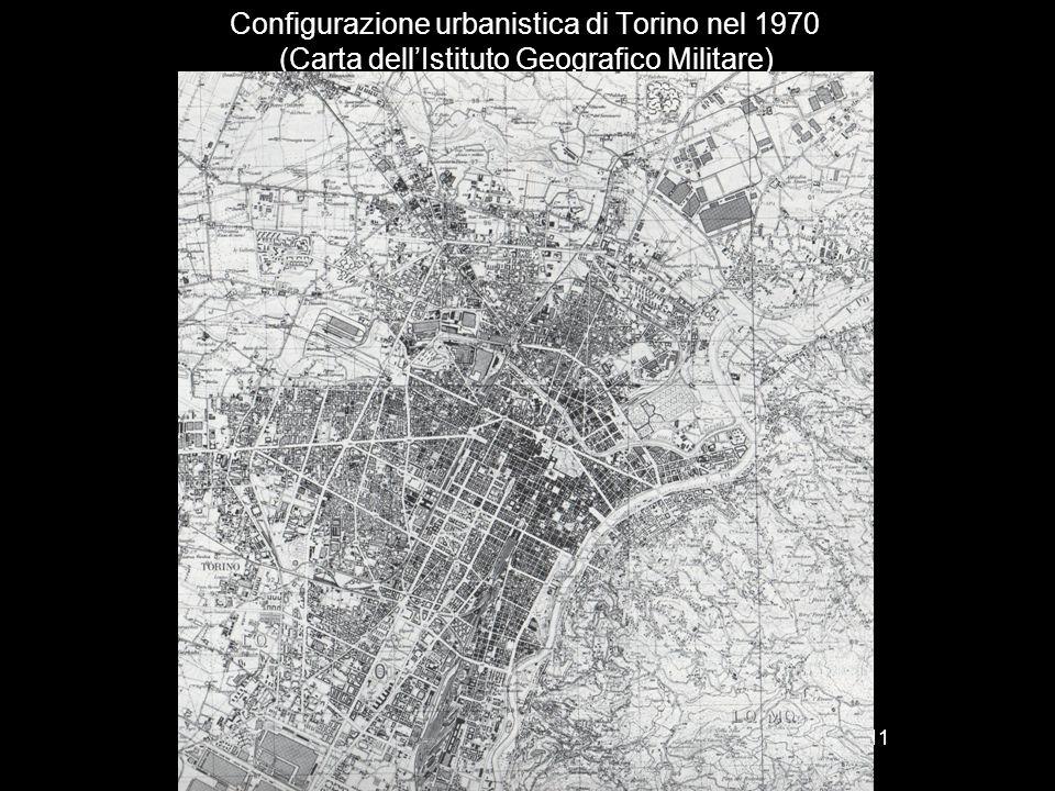 Configurazione urbanistica di Torino nel 1970 (Carta dell'Istituto Geografico Militare)
