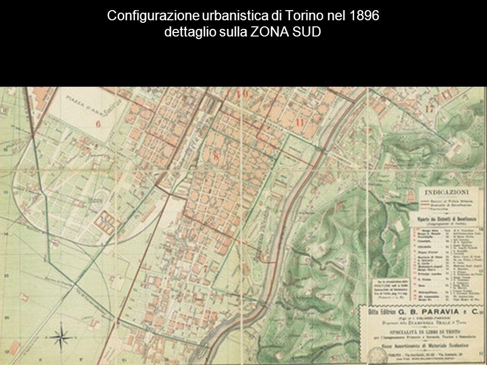 Configurazione urbanistica di Torino nel 1896 dettaglio sulla ZONA SUD