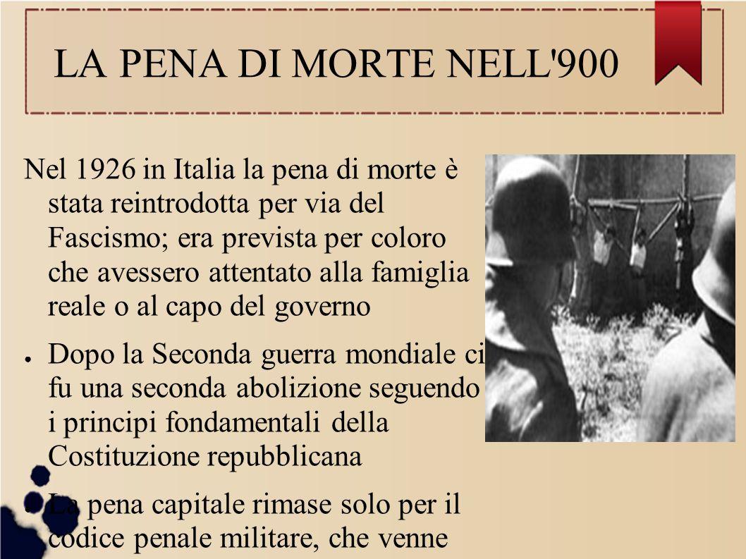 LA PENA DI MORTE NELL 900