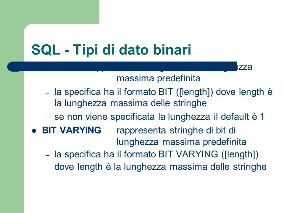 SQL - Tipi di dato binari