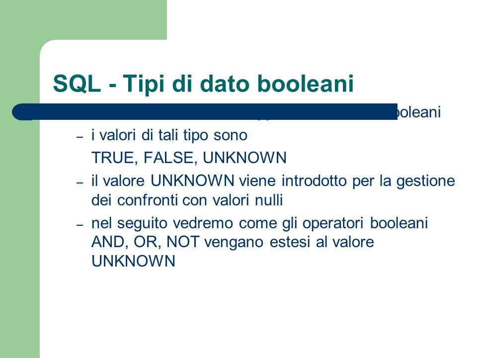 SQL - Tipi di dato booleani