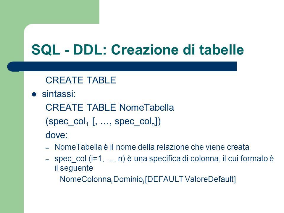 SQL - DDL: Creazione di tabelle