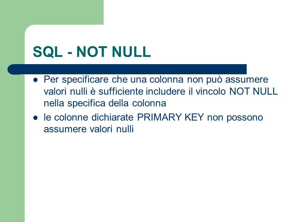 SQL - NOT NULL
