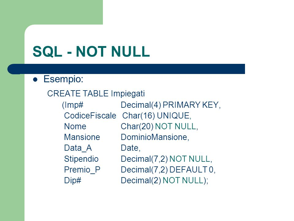SQL - NOT NULL Esempio: CREATE TABLE Impiegati